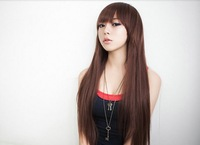 Цена милая длинные прямые 100% синтетических волос полное кружева фронт парики груша