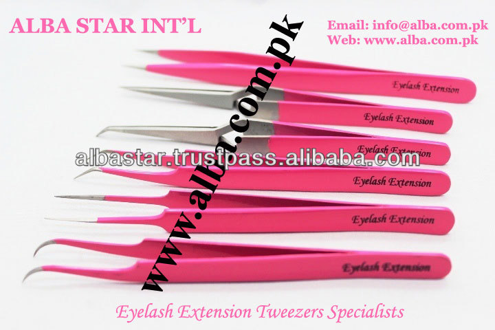 Superior Eyelash Extension Tweezers Set Hot Pink