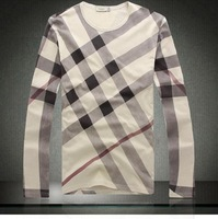 Мужская футболка 2012 new fashion slim fit casual long sleeve t shirts for men O neck stripe t shirt tees 19801