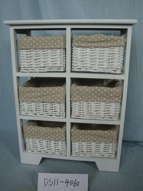 Coffret en bois avec de paniers meubles de maison rotin tiroirs meubles en - Meuble de rangement avec panier en osier ...