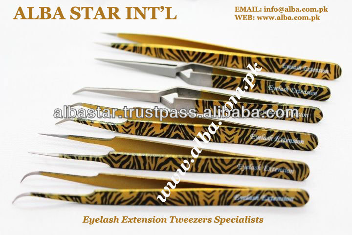 Gold Plated X type tweezers for Eyelash Extension