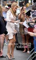 Платье знаменитостей New Style High Fashion A-Line Beading Halter 3/4 Cap Sleeve Satin Chiffon Mini Blake Lively Celebrity Evening Party Dress