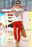 Женская футболка 2012 Fashion, Long Sleeve tops for women, heart pattern T-Shirt, cotton T-Shirt, Bottoming shirt, slim shirt