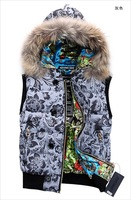 Женский жилет 2012 new Fashion Hooded Outdoor Down Vest Women and men Vest Lovers Brim of a hat fox fur