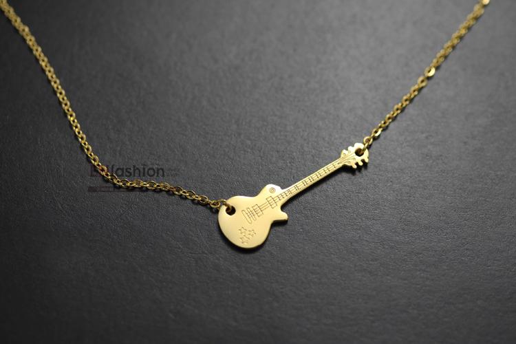 18kgp gold color fashion guitar gitarre necklace women pendant image show aloadofball Choice Image