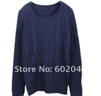 Женский пуловер 2012 European and American patch warm retro Crewneck sweater fashion jacket+the trend of fashion sweater design