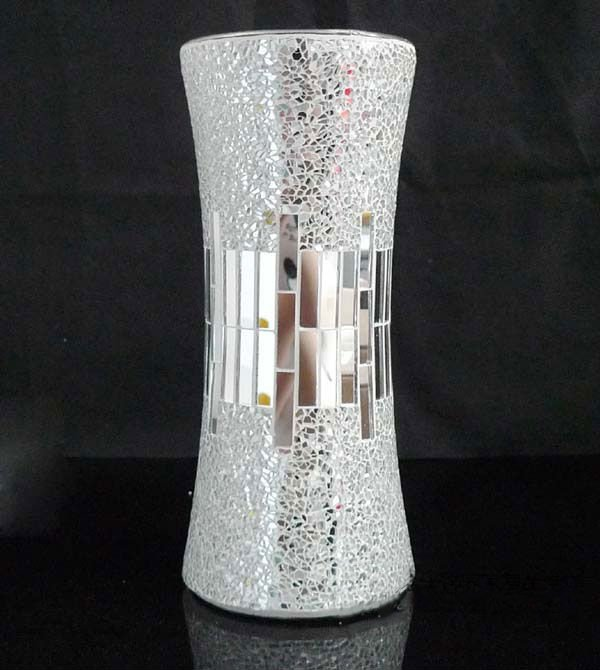 Silver Mirrored Combination Mirror Glass Mosaic Vase Buy Mosaic