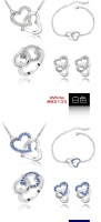 Ювелирный набор Valentine's Day Gift Crystal Set Jewelry Earrings+Necklace+Bracelet+Ring Make With SWA Elements #83135