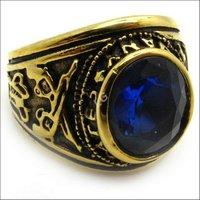мужчины мальчики мода синий кристалл очарование кольцо Ювелирные изделия нержавеющая сталь латунь Соединенные Штаты ВМФ usn золотые кольца