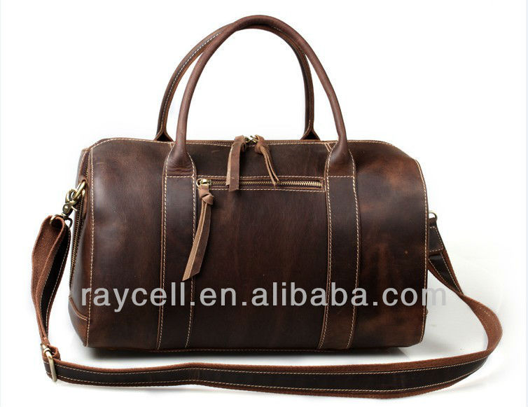 2013 Hotsale western genuine leather tote and shouder travel fashion bag for men wholesale factory price Made in China