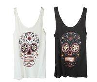 Chic Prints Tank Top Black White Tees Skull T-shirts Cotton Jersey Camis Womens' Ladies Fashion Casual Streetwear Style Tanktops
