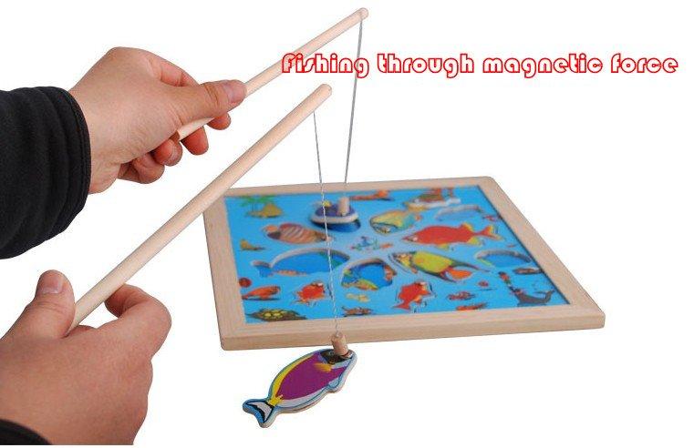 детские деревянные магнитные рыбалка
