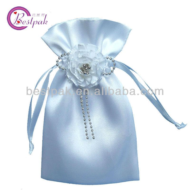 2013 hot sale novelty mini drawstring white satin bags