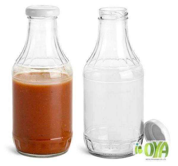 21 glass bottles 16 oz clear glass sauce decanter bottles w white