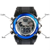 Наручные часы New 2 Dual Core Day Date Alarm Mens Blue Sport Wrist Watch Xmas Gift A020