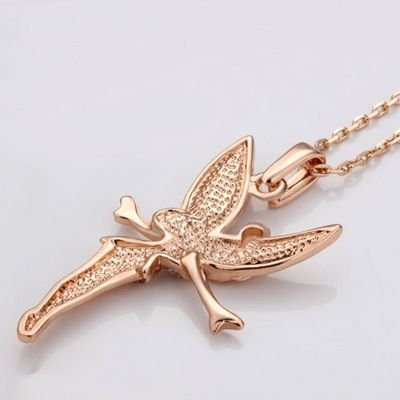GN024 Trendy Fairy 18K Gold Plated Pendant Necklace, Rose Gold, Health Jewelry, Nickel Free, Rhinestone