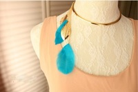 Накладной воротничок Charming woman, colorful Leaves pendant Collar Torques Necklade NL350