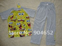 wholesale kids boy's SPONGE BOB short sleeve cotton pajamas cute cartoon Summer sleepwear/ sleepsuit