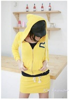 Женские толстовки и Кофты 2013 Autumn/Winter New Fashion Korean Letters Printed Hooded Collar Cardigan Sweater+Short Skirt Female Sports Suit JCK3716