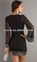 Туфли на высоком каблуке 2013 Hot Sale Sequin Chiffon Club Straight Long Sleeve Cocktail Dresses