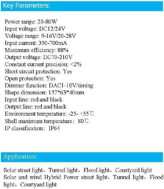 70W LED Driver DC 9~16V/20~28V for streetlight/ strip light