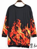 Женские толстовки и Кофты EAST Knitting SE-035 Fall 2013 Women Designer Fashion hoodies plus size Fire galaxy sweatshirts 3D brand Pullovers