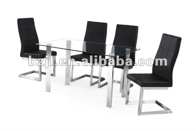 Diseño moderno de vidrio templado mesa comedor y sillas mesas de ...