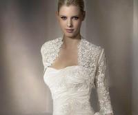 Fast Shipping Sexy Bridal Bolero With Long Sleeve Elegant Wedding Wraps Lace Jackets
