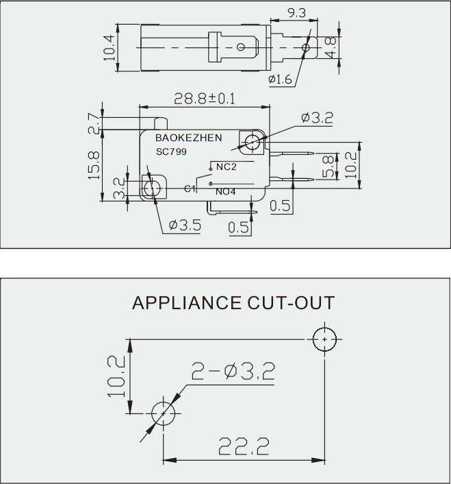 Juicer, agitateur, et l'appareil ménager micro interrupteur, micro avec/sans sensibles levier équipements électriques