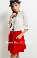 Free Shipping,2012 HOT Sale Women's All-match Buttoned Double Pocket Woolen Mini Skirt,4 colors Lady Short Skirts