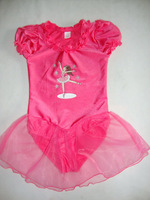 Free shipping children dancewear short sleeve ballet dance leotard with skirt  gym suit conjoined wear two colors JQ-102
