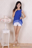 Женский топ New in double sleeveless chiffon tunic vest chiffon shirt