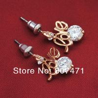 Потребительские товары New Fashion Shiny Zircon love letters shape drop earrings for wedding gift at price