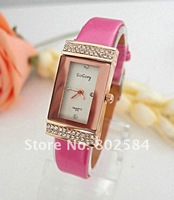 Наручные часы White Rectangle Crystal Case Leather Band Women dress Watch Top Fashion Lady Wrist Watch Go015