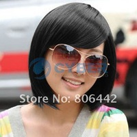 Парик New Style Women's Girls Sexy BOBO Head Inclined Bang Fashion Hair Short Straight Wigs Black