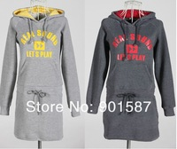 The Unique Hoodie Style Flanne Dress Girl's Casual with Hat Printing Collect waist  Dresses Free shipping