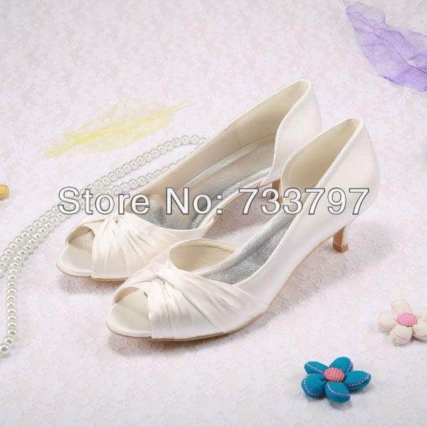 Open Toe Low Heel Pumps Wedding Shoes Woman Pumps Custom Handmade
