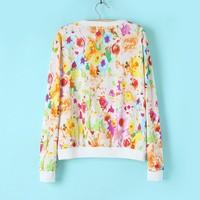 Женские толстовки и Кофты 2013 New Fashion Brand Women's Flower Printed Pullover Hoodies Lady Long Sleeve Loose Casual Sweatshirt For Autumn Winter