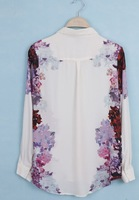 Free shoping Woman fashion symmetrical flowers long/sleeved chiffon shirt Blouse TB 2280
