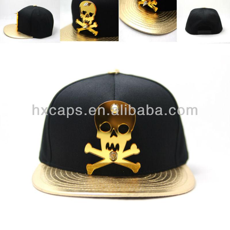 Customized oem factory gold plate rivet snapback cap hat
