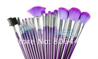 Кисти для макияжа 16Pcs Purple Cosmetic Set Makeup Brush Brushes with Leather Case