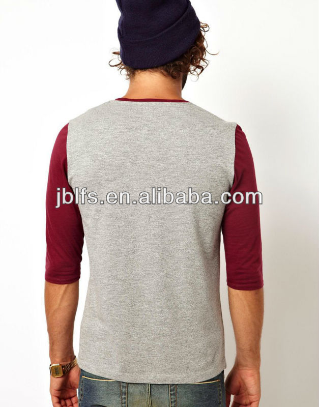 brand mens slim fit 3/4 sleeve t shirt