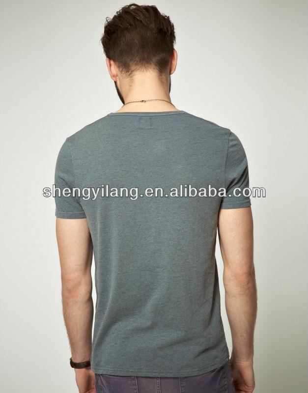 Deep V-neck fitted breathable men cotton tshirts / tshirt korea men T12874