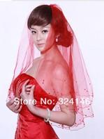 Свадебная фата 100% guarantee 1.5m single-deck long beautiful lace flower side red wedding veil/bridal veil/bridal accessories/head veil