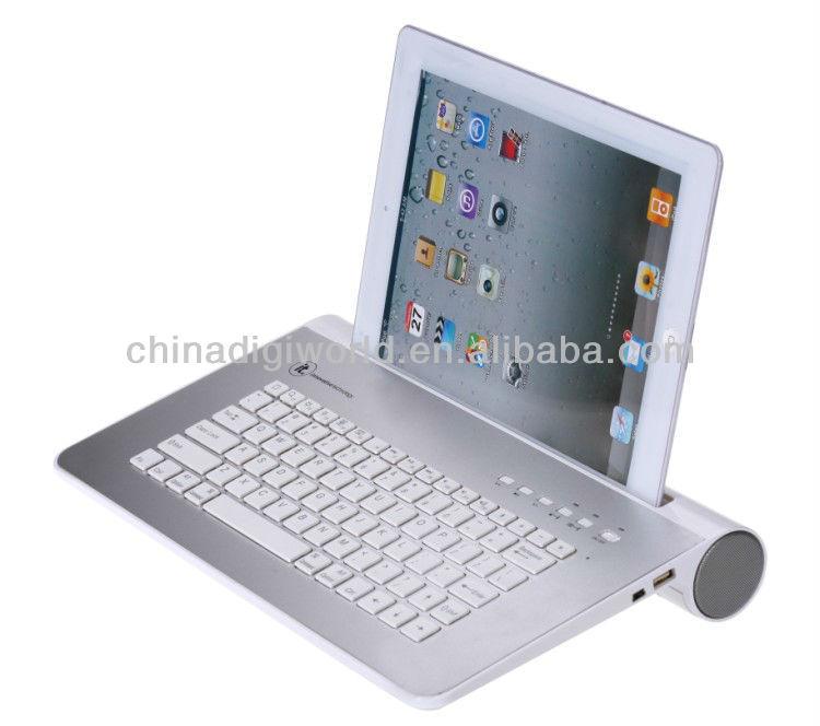 Newest luxury aluminum bluetooth keyboard speaker for ipad