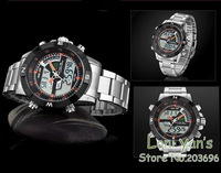 Наручные часы WEIDE 2013 Casual Military Date Day Alarm Stainless Steel Mens Quartz Digital Sport Wrist Watch