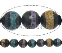 Бусины Natural Tibetan Agate Dzi Beads, rhinestone cross bracelets, Round, machine faceted, 10mm, Hole:Approx 2mm