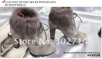 Free shipping  Women's boots.rabbit hair ankle boot.punk  high heels shoes lb1304