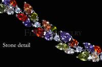 Ювелирное изделие White Gold Plated Elizabeth Colorful AAA+Swiss Cubic Zirconia Charm Multicolor Strand Bracelet