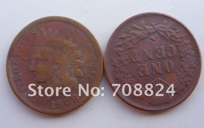 Idian Head small cents 1908-s dates copper coins crafts manufacturer retail /whole sale free shipping